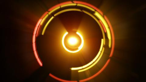 Yellow glow light circles rotating futuristic seamless loop Footage