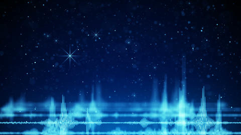Blue audio wave form and falling sparkles seamless loop animation Animation