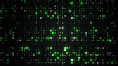 Glowing green digital HEX data code seamless loop animation Animation