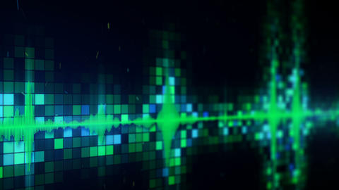 Green audio equalizer on screen loopable animation with DOF CG動画素材