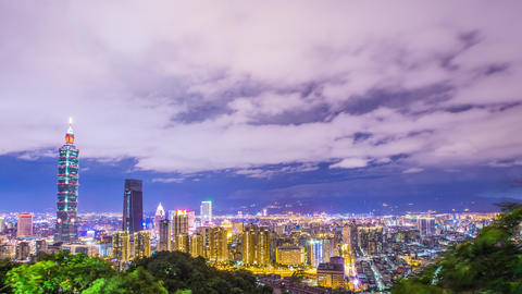 Time Lapse - Beautiful Cloudscape Over the Night Skyline of Taipei, Taiwan - 4K Footage
