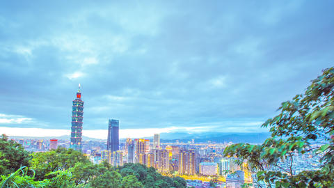 Time Lapse - Skyline of Taipei, Taiwan with Taipei 101 and Cloudscape at Dusk - Footage