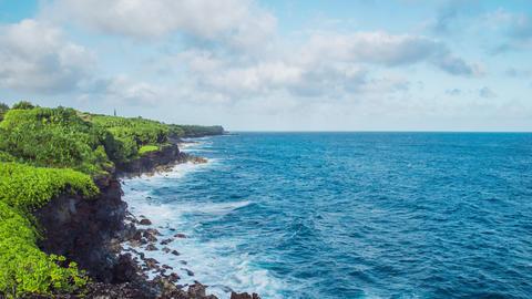 Time Lapse - Beautiful cloudscape along the coastline Footage