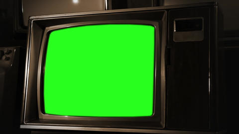 Vintage Green Screen Tv. Sepia Color Footage