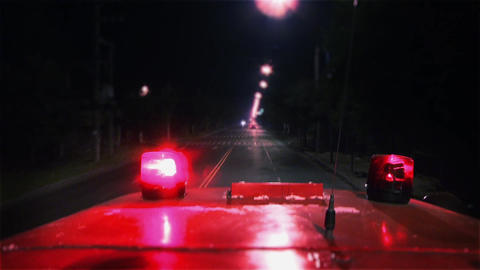Fire Truck Responding. Slow Motion Shot Live Action