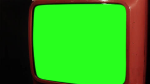 Old Red Tv With Green Screen Live Action
