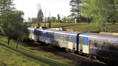 Train Passing on the Rail Tracks Footage