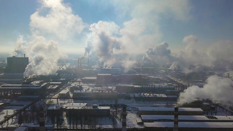 Aerial view of factory smoke stack - Oil refinery, petrochemical or chemical Footage