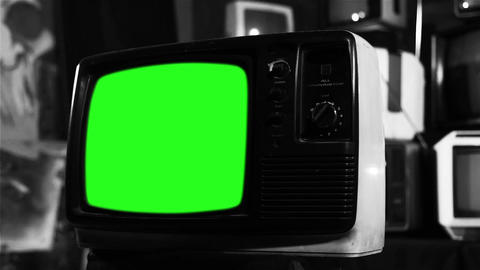 Old Tv With Green Screen. Black And White Tone Live Action
