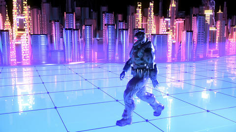 Futuristic soldier on a future city background Animation