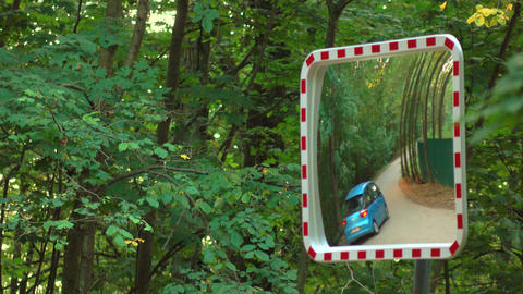 Street mirror near forest road. Safety equipment, 4K video Footage