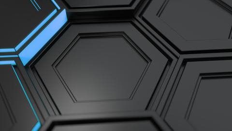 Wall of black hexagons with blue glow Animation