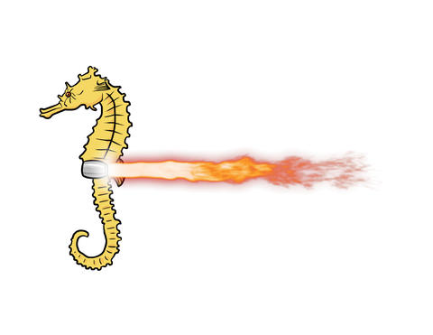 Jet powered Sea horse Animation