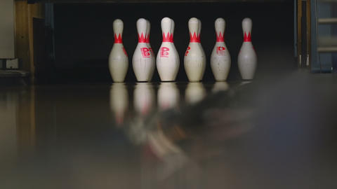 Bowling pins in the bowling club Footage