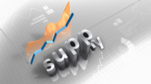 Growing chart, supply, demand, production, source Animation