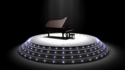 Majestic piano performance stage spotlights Animation