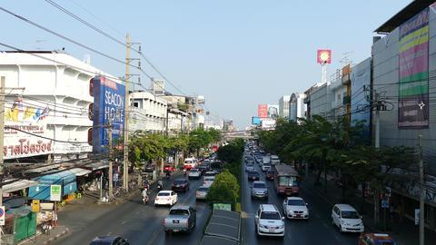 Traffic street scene in Bangkok Live Action