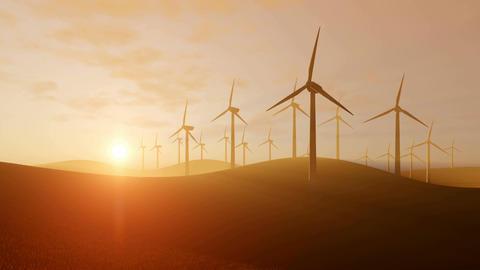 Rotating wind turbines at sunset Footage