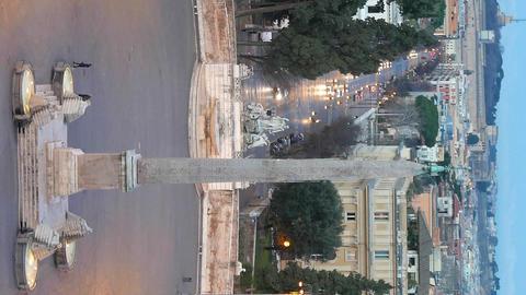 Vertical video. Piazza del Popolo. Dawn. Rome, Italy Footage