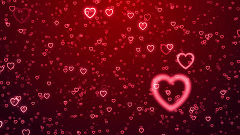 Heart love valentine day wedding anniversary abstract particles background loop Animación