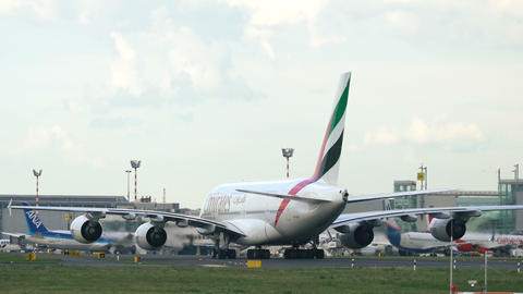 Airbus A380 A6-EOO taxiing after just arrived Footage