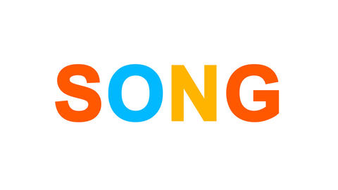 text SONG from letters of different colors appears behind small squares. Then Animation