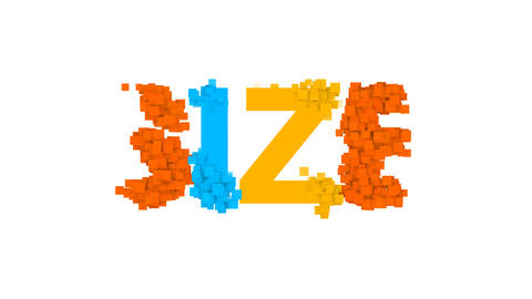 text SIZE from letters of different colors appears behind small squares. Then Animation
