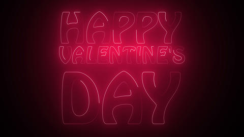 Happy Valentine's Day Text in neon Footage