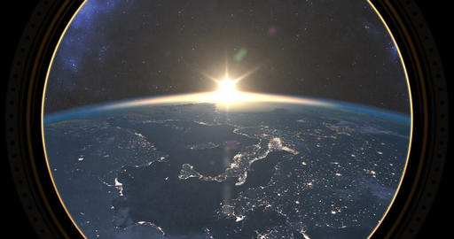 Earth sunset seen from ISS Animation