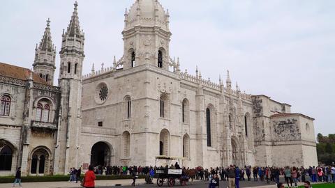 LISBON, circa 2018: Jeronimos Monastery or Hieronymites Monastery. Lisbon is Footage