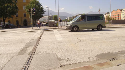 car stops at the traffic light, Innsbruck Footage
