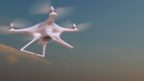 Drone flies against time-lapse sky background Animation