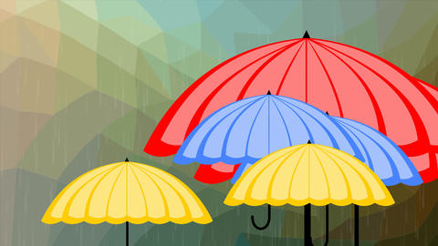 Flying multicolored umbrellas behind glass with raindrops, weather forecast GIF