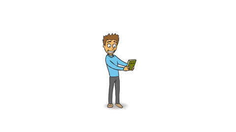 Cartoon Funny Character Rejoices Buying a New Book and Jumps for Joy Animation
