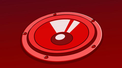 Animated Red Music Speaker background, seamless loop CG動画素材