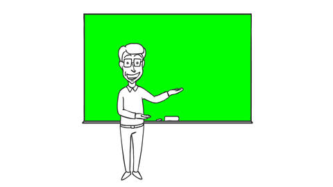 Cartoon Funny Character Man Erases and Writes on the Board CG動画素材