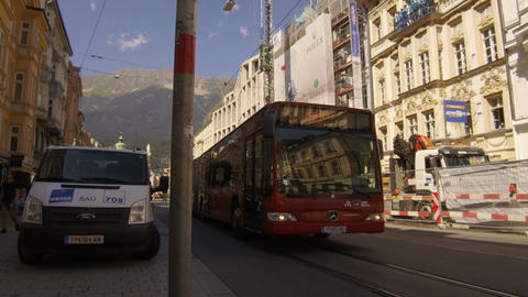 bus passes to downtown Innsbruck Footage