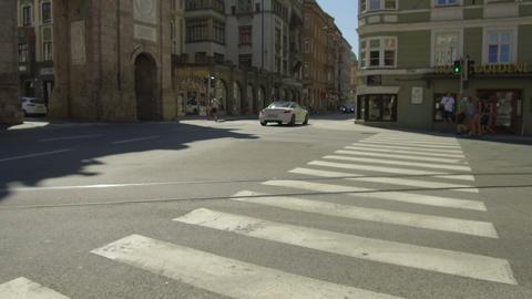 pov walking sidewalk near the triumphal arch of Innsbruck Footage