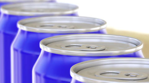 Blue cans on conveyor. Soft drinks or beer production line. Recycling packaging Footage