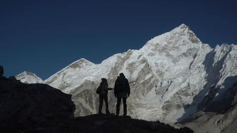 Silhouettes of tourists in the mountains Footage