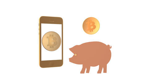 Coin bitcoin appears from the smartphone and moves into the piggy bank Animation