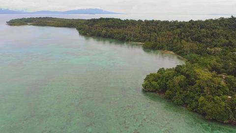 Solomon islands. Flight near one of the islands Footage