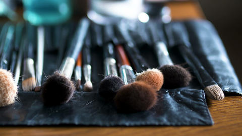 Brush set for make-up on table Footage
