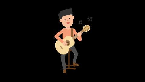 Man Playing Guitar Sitting Animation