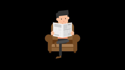 Man Reading the Newspaper on the Couch Animation