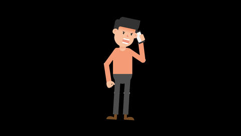Man Talking Angry on the Phone Animation