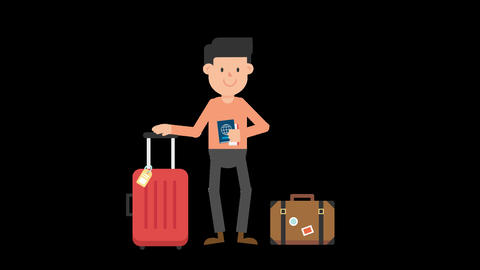 Man Traveling with Luggage Animation