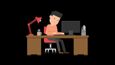 Man Working at his Desk Animation