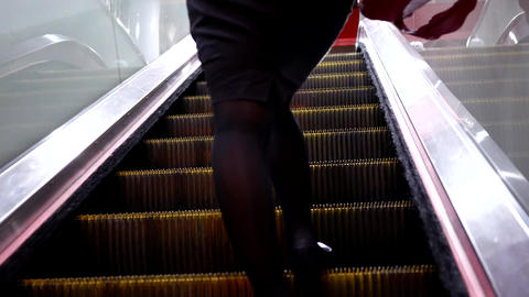 Motion of people feet on the escalator inside the MRT with 4k resolution Footage
