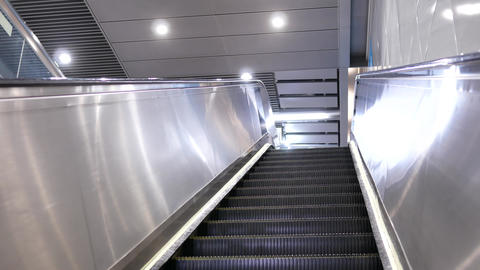 Motion of empty escalator inside the MRT with 4k resolution Footage